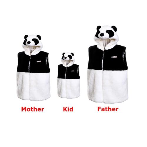 Hooded Panda Vest Cute Thick Plush Tops