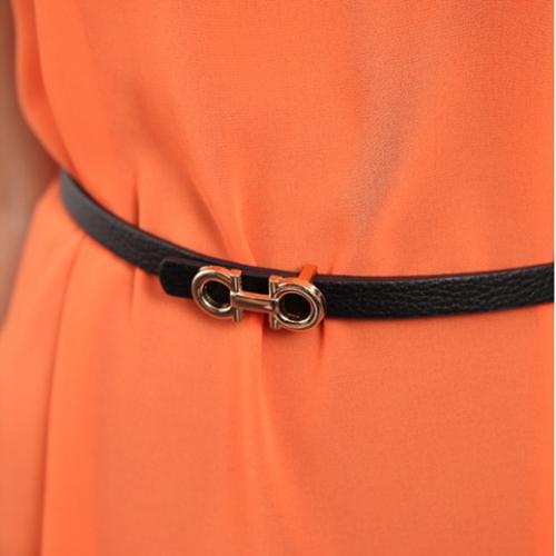 Fashion Women Lady's Slender Waist Belt Cute Thin Skinny Waistband Belt PU Leather 100CM Black