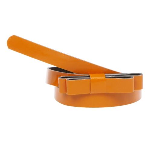 Moda mujeres señora cintura delgada correa Bowknot lindo Color caramelo Delgado Delgado PU cuero pretina correa naranja