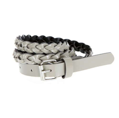 Fashion Women Lady Braided Belt Candy Color Skinny Thin Weave Plaid Buckle Cross Belt PU Leather Gray