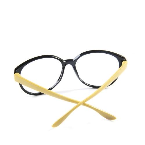 Image of Mode Unisex Damen Herren Brille Rahmen keine Objektiv Brillen Brillen Nerd schwarz + gelb