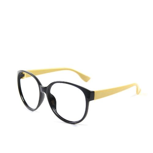 Moda Unisex mujer hombre gafas no marco lentes anteojos gafas Nerd negro + amarillo