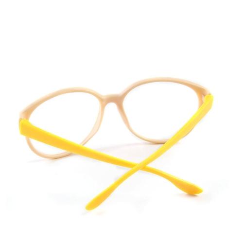Image of Mode Unisex Damen Herren Brille Rahmen keine Objektiv Brillen Brillen Nerd Beige + gelb