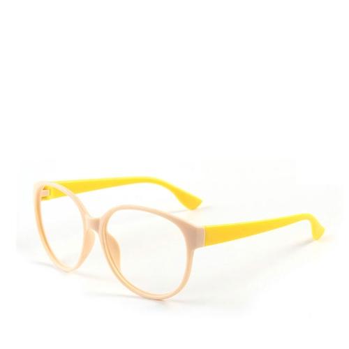 Marco de la moda unisex mujeres de los hombres de los vidrios de las lentes del objetivo n Gafas Nerd Beige + Amarillo