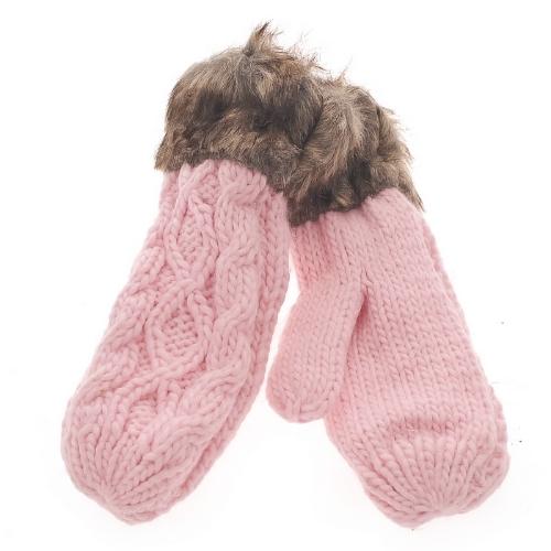 Moda invierno mujer guantes manopla gruesa caliente punto piel sintética lindo de Navidad rosado