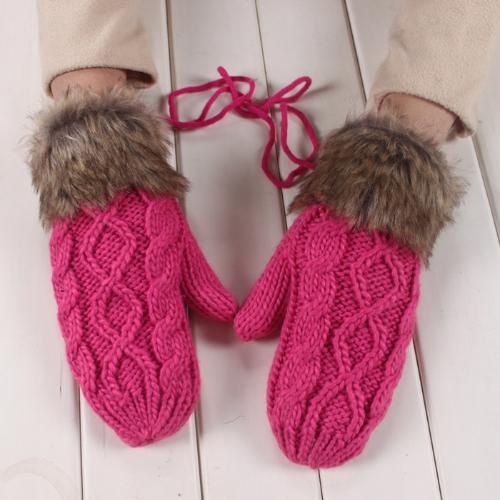 Moda invierno mujer guantes manopla gruesa caliente punto piel sintética lindo de Navidad rosa