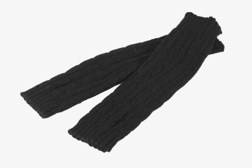 Moda invierno hombres mujeres guantes mitón cálido brazo Fingerless punto largo Unisex negro