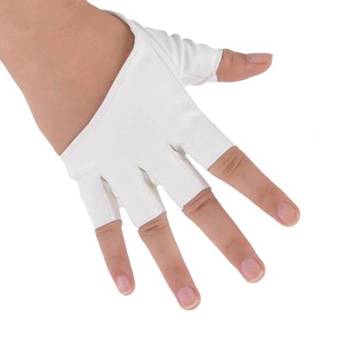 Moda mujeres PU suave cuero medio dedo corto guantes de conducir baile Mostrar guantes blanco