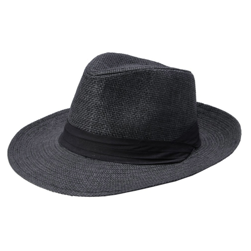 Mode Männer Frauen Panama Sun Stroh Hut Kontrast Ribbon eingeklemmter Krone gerollt Trim Strand Cap