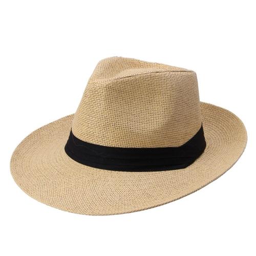 ファッション男性女性パナマ太陽わら帽子コントラスト リボン ピンチ クラウン圧延トリム ビーチ キャップ