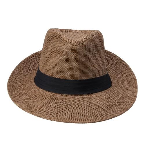 Moda hombres mujeres Panama Sun paja sombrero contraste cinta pellizcado corona rodado Trim playa Cap