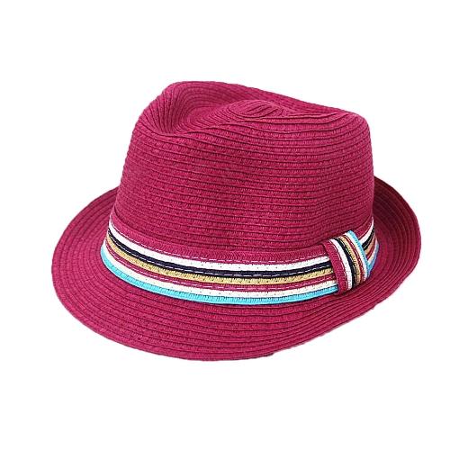 Nueva moda mujer sombrero de paja colorida banda Fedora sombrero sol playa sombrero sombrero Panamá Cap