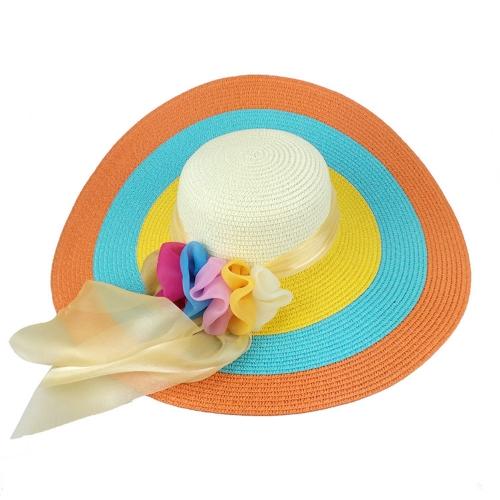 Neue Mode Frauen Strohhut faltbar Breite Diskette Brim bunte Sonnenhut Strand Cap