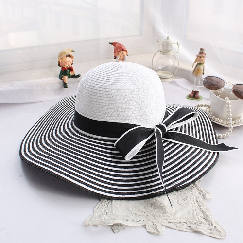 Fashion Women Straw Sun Hat Wide Brim Stripes Bow Floppy Cap Summer Beach Bohemia Headwear Black