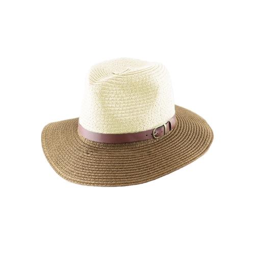 Korean moda Fedora chapéu couro cinto cor bloco Chapéu Panamá praia sol palha chapéu azul Unisex & café/vermelho e azul/bege & Khaki