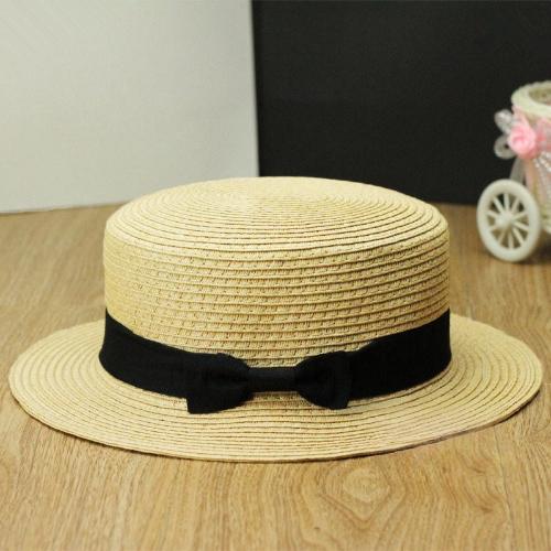 Nueva moda mujeres dama Fedora sombrero Trilby Bowknot paja Panamá Playa sombrero para el sol