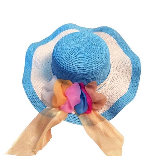 Nuevo verano mujeres chica sombrero de paja amplia onda colorida cinta disquete Playa Sol plegable sombrero