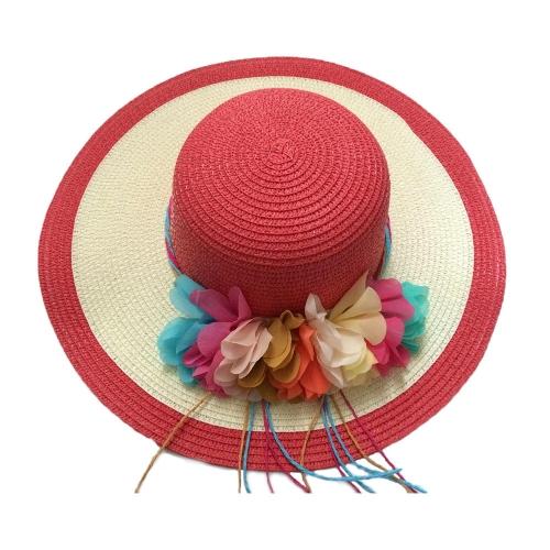 Nuevo verano mujeres sombrero de paja Alón flores de colores disco Playa Sol plegable sombrero sombreros