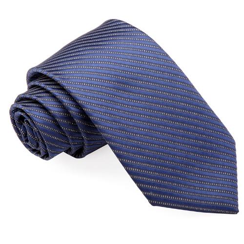 Cuello corbata rayas Color sólido corbata boda novio fiesta azul oscuro de los hombres clásicos de la moda