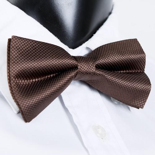 Smoking Bowtie sólido Color corbatas ajustable boda fiesta pajarita corbata pre-atado marrón moda hombre