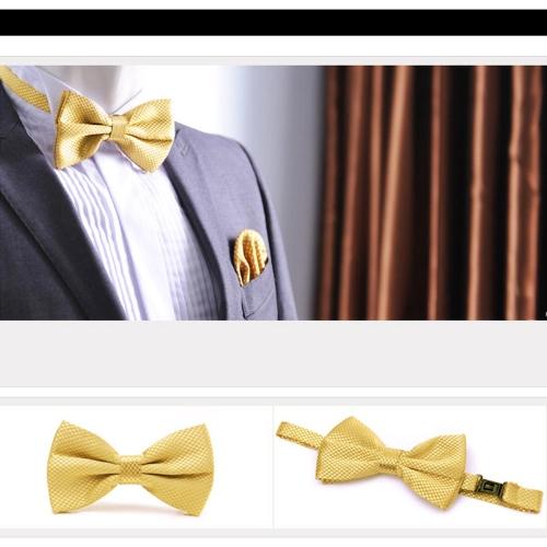 Image of Mode Herren Smoking Bowtie Solid Farbe Krawatten einstellbar Hochzeit Party Fliege Krawatte vor Krawatte gelb