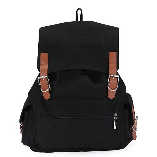 New Vintage Men Women Canvas Backpack Rucksack Unisex Satchel School Bag Black