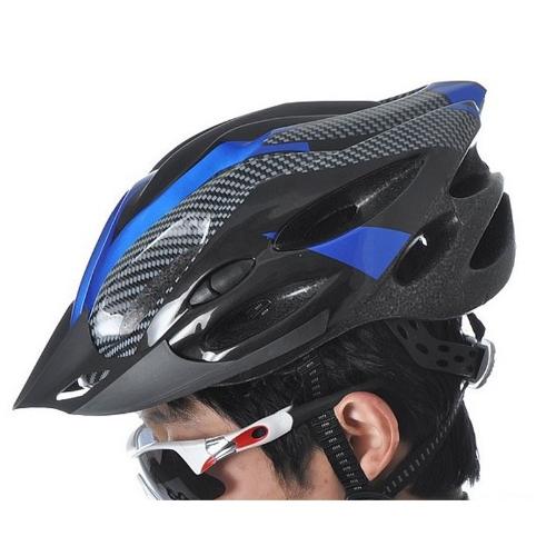 Deportes bicicleta de casco de seguridad con visera de fibra de carbono adultos azul