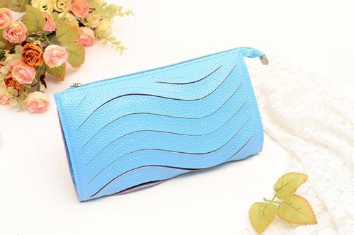 Moda mujeres bolso de embrague PU cuero bolso Color caramelo bolso cartera pequeño hombro Messenger Bag azul claro