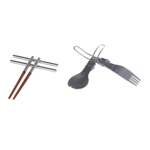 Alocs Outdoor Camping Cutlery Set Chopsticks Folding Camping Fork Spoon Ultra-light 3in1 TW-106