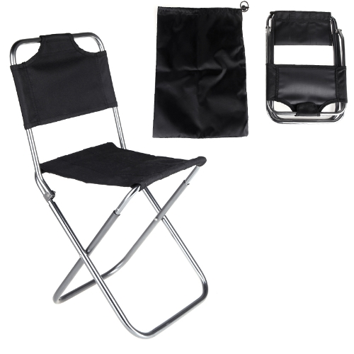 Portatile pieghevole in alluminio Oxford panno sedia all'aperto Pesca Campeggio con schienale Carry Bag Black