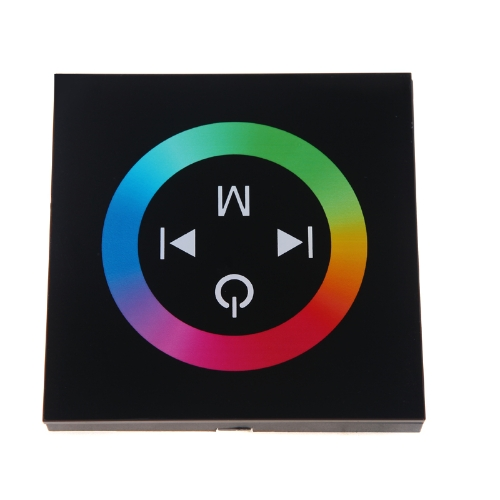 Touch Panel LED Dimmer Controller for 5050/3528 RGB LED Strip Light 12-24V Black