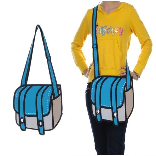 New Fashion Women Bag Flat 3D Camera Bag Cartoon Shoulder Messenger Bag Blue