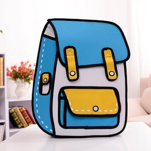 New Fashion Men Women Backpack 3D Cartoon Flat School Bag Color Block Student Bag Blue