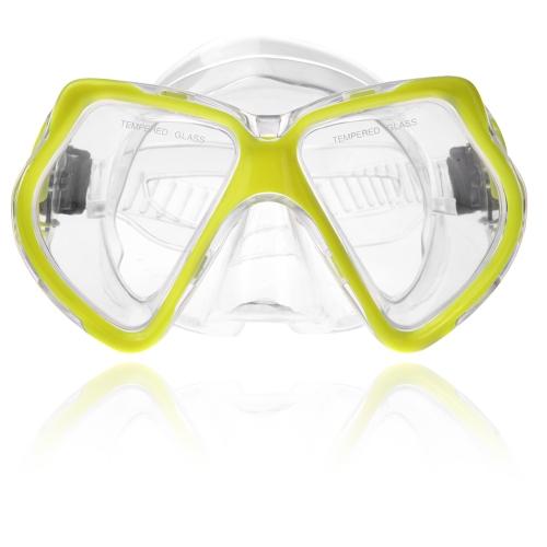 スキューバ ダイビング マスク ゴーグル水泳ダイビング シュノーケ リング機器 4 mm の強化ガラス イエロー