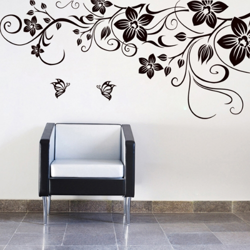 Flower Vine Removable Black Butterfly Wall Stickers Wall Decals Art Decal Decor