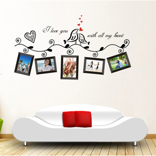 Love Birds Photo Frame Art Wall Stickers Naklejka Romantic Wedding Room Decor