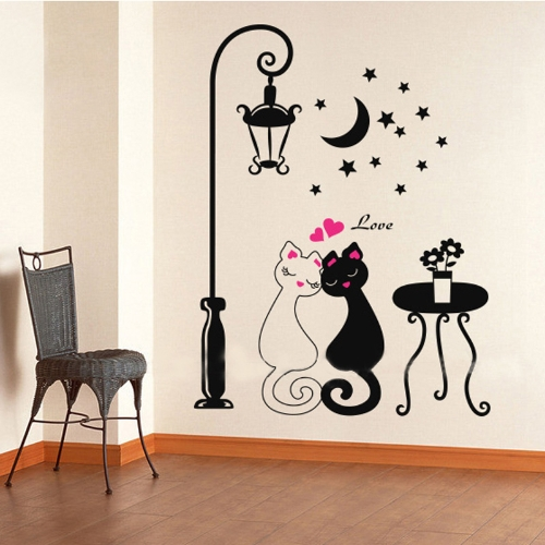Décor de salle de Couples mignons chats Cartoon Wall Sticker enfants enfants