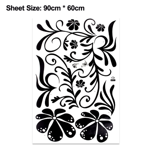 Flower Tree Vine Blossom Wall Sticker Mural Decor Art Vinyl Decal Black