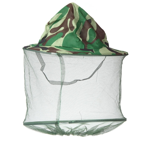 Pieghevole mimetica esterna campo giungla pesca cappello maschera Cap zanzara ape insetto Campeggio