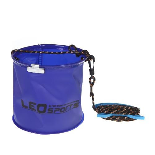 18 * 17cm klappbar EVA Wassereimer mit Seil Gürtel im freien Angelausrüstung Camping blau