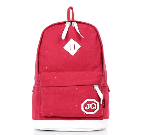 Moda Unisex mochila lona morral Polka Dot estudiante escuela bolso bolso rojo