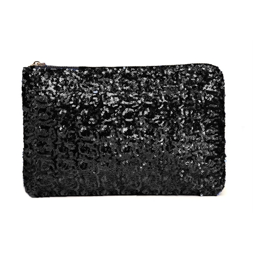 Fashion Women Clutch Bag Dazzling Sequins Glitter Sparkling Handbag Evening Party Bag Black