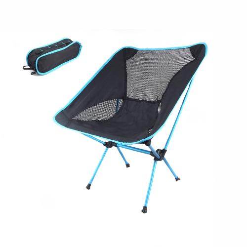 Portabile Piegabile Sedia di campeggio per la Festa di pesca BBQ Escursionismo Spiaggia con Borsa blue