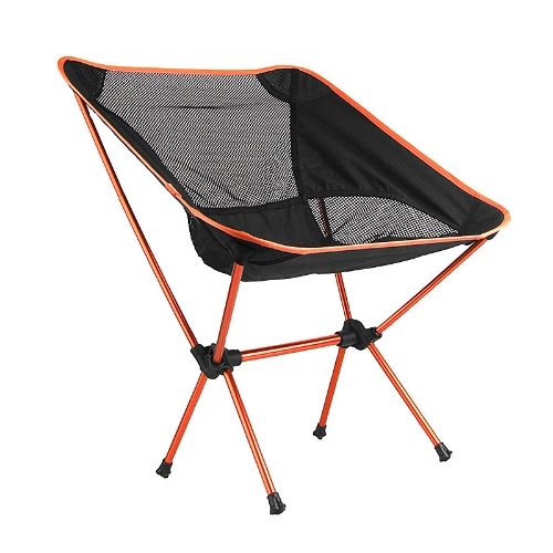 Portable Folding Camping Stool Chair Seat for Fishing Festival Picnic BBQ Beach with Bag Orange