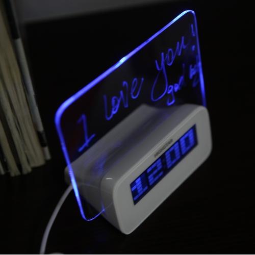 LED-Digital fluoreszierende Message Board Uhr Alarm Temperatur Kalender Timer USB-Hub Blue Light