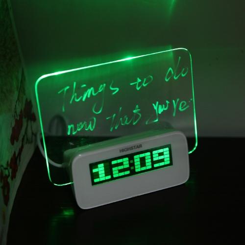 LED Цифровая флуоресцентная доска для записей Будильник Температура Календарь Таймер USB-концентратор Зеленый свет