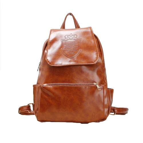 New Fashion Women Backpack Crown Embossing Casual Knapsack Shoulder Bag