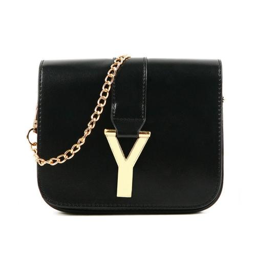 New Fashion Women Chain Bag PU Leather Candy Color Mini Crossbody Shoulder Bag Black