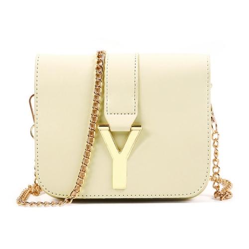 Nova moda mulheres cadeia saco PU couro cor dos doces Crossbody Mini mochila bege
