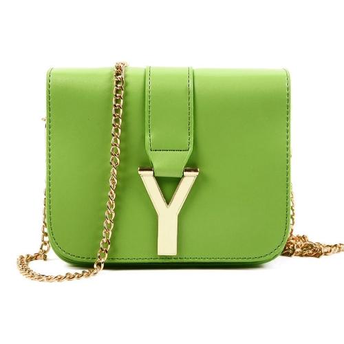 Nueva moda mujer cadena bolsa PU cuero Color caramelo Mini bandolera bandolera verde
